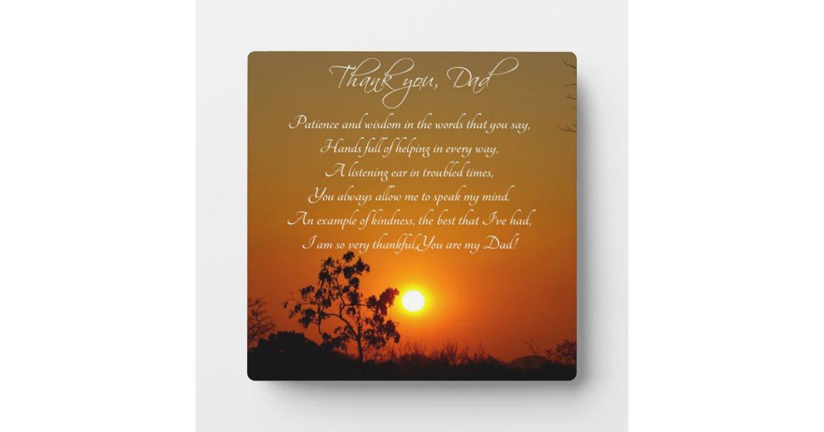 Quot Thank You Dad Quot Poem Gift Plaque Zazzle