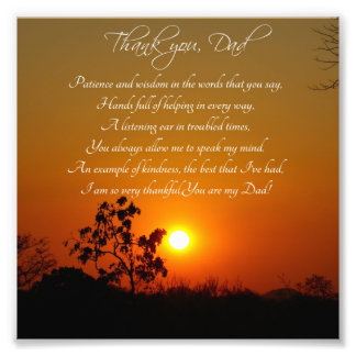 Thank You Dad Sunset and Trees Photo Print