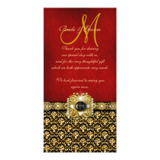 """Thank you"" damask black red gold Card"