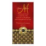 """Thank you"" damask black red gold Photo Card Template"