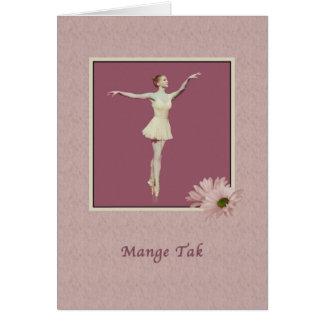 Thank You, Danish, Mange Tak, Ballerina Greeting Card
