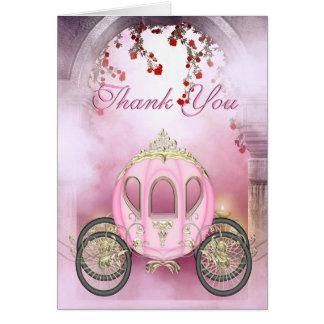 Thank You de princesa Carriage Enchanted rosado Tarjeta Pequeña