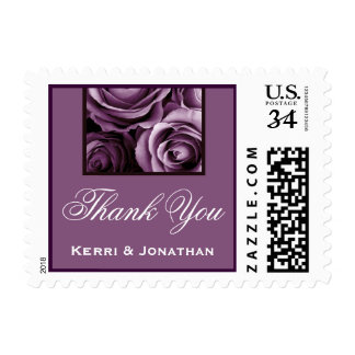 THANK YOU - Deep Lavender Purple Roses Postage