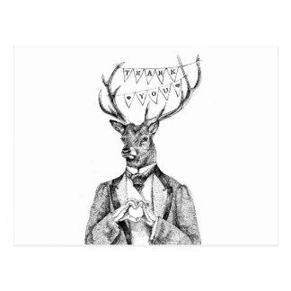 Thank-you deer postcard