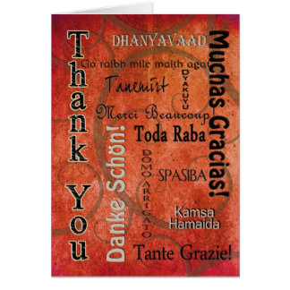 THANK YOU - DIFFERENT LANGUAGES - ORANGE GREETING CARD
