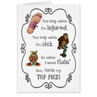 Thank You Doctor for Your Help Care Concern Greeting Card