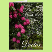 Thank You Doctor-Pink and White Floral/Garden Card