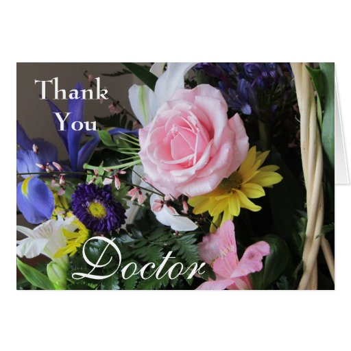 Thank You For Your Business Basket: Thank You Doctor-Pink Rose Bouquet In Basket Card