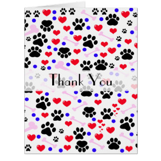 Thank You - Dog Paws, Bones, Hearts - Red Pink Card
