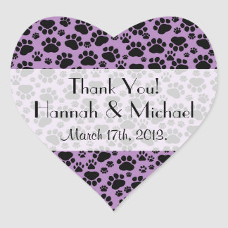 Thank You - Dog Paws, Paw-prints - Purple Black Heart Sticker