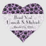 Thank You - Dog Paws, Paw-prints - Purple Black Heart Sticker