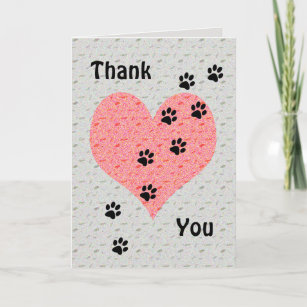 Thank You Dog Walker Heart with Paw Prints