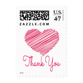 Thank You Doodle Heart Red Pink Wedding Love Postage Stamp
