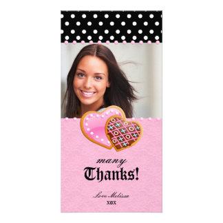 Thank You Dots Lace Heart Cookies Sweet 16 Photo Card