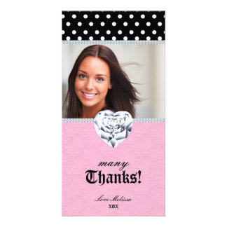 Thank You Dots Lace Heart Diamonds Sweet 16 Card
