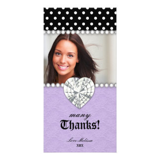 Thank You Dots Lace Pearls Jewel Sweet 16 Purple Card