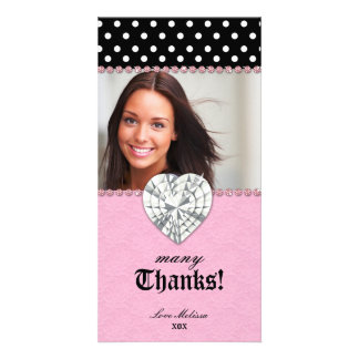 Thank You Dots Lace Pink Jewel Sweet 16 Card