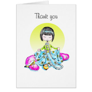 Thank You dressed up with bangs notecard