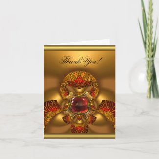 Thank You Elegant Birthday Gold Red Jewel Abstract by Zizzago