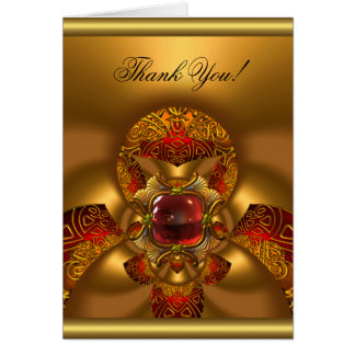Thank You Elegant Birthday Gold Red Jewel Abstract Card