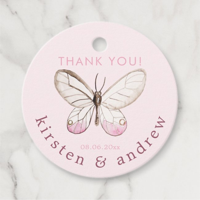 Thank You! Elegant Blush Pink Butterfly Wedding