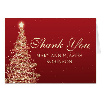 Thank You Elegant Christmas Party Red Card