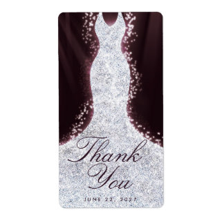 Thank You Elegant Glitter Dress Custom Wine Label