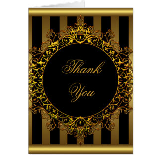 Thank You Elegant Gold Black Stripe Card