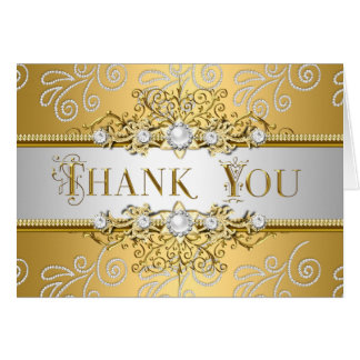 Thank You Elegant Gold Silver lace Diamond Overlay Greeting Card