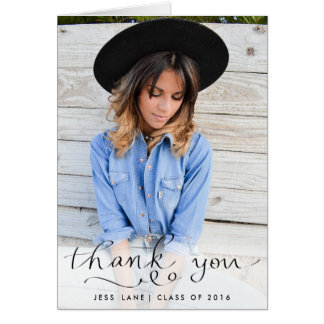 Thank You Elegant Handwritten Graduate Photo Card