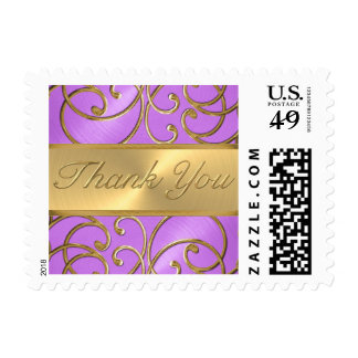 Thank You Elegant Orchid Purple Gold Filigree Postage