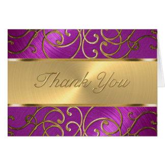 Thank You Elegant Raspberry Pink Gold Filigree Card