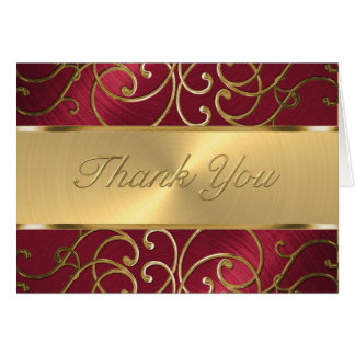 Thank You Elegant Red and Gold Filigree Card