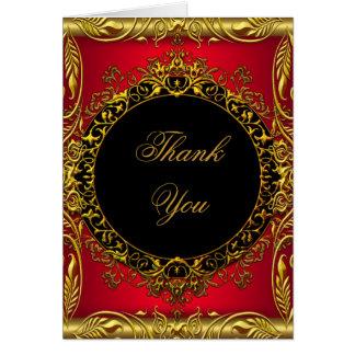 Thank You Elegant Red Gold Black Card