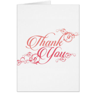 Thank you elegant script in blush and pink greeting card