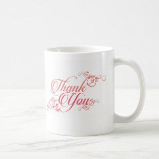 Thank you elegant script in blush and pink coffee mug