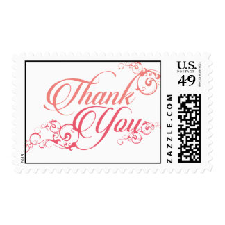 Thank you elegant script in blush and pink postage stamps