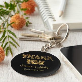 Thank You Elegant Thanks Black and Gold Typography Keychain