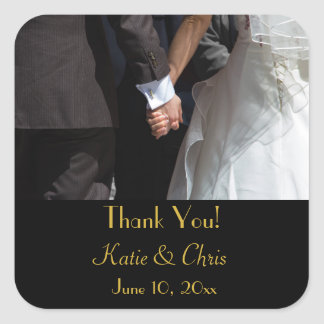 Thank You Elegant Wedding Couple Holding Hands Square Sticker