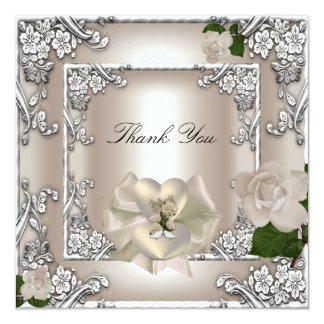 Thank You Elegant Wedding Cream Rose Silver White Card