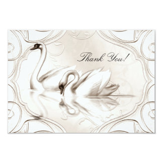 Thank You Elegant Wedding Cream White Swans Set Card