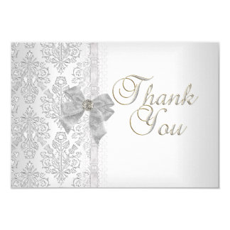 Thank You Elegant Wedding Damask White Silver Bow Card