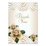 Thank You Elegant Wedding Sepia Cream Beige Roses Card
