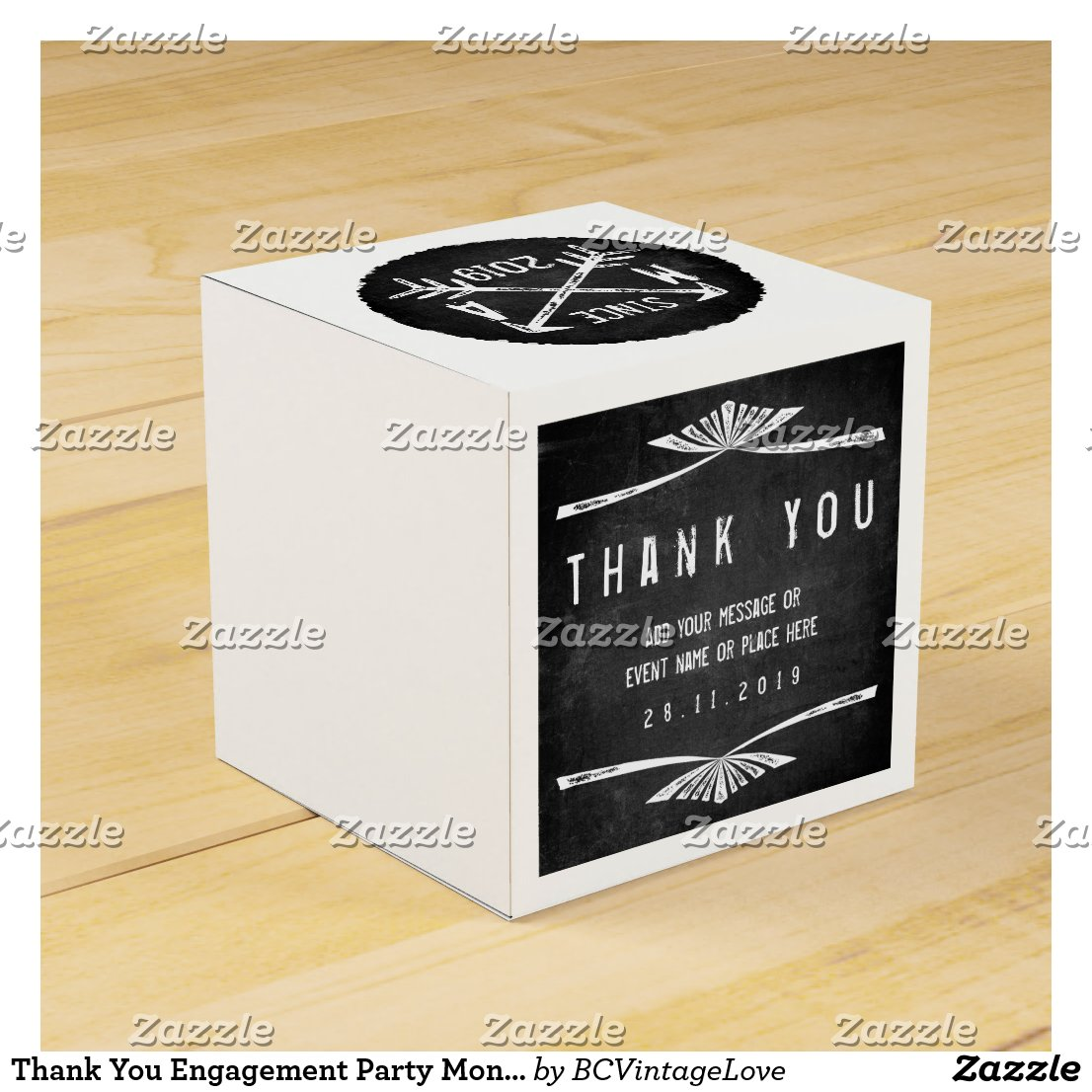 Thank You Engagement Party Monogram Arrows Chalk Favor Box