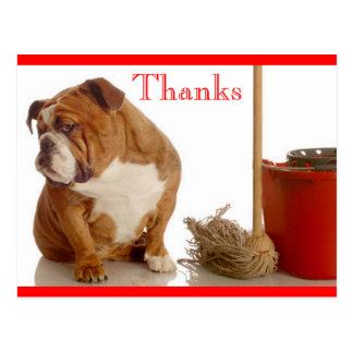 Thank You English Bulldog Pup Greeting Postcard