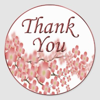 Thank You Envelope Seal Dogwood Design Stickers