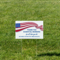 Thank You Essential Workers, Medical, USA Flag Sign
