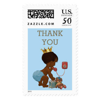 Thank You Ethnic Prince on Phone Baby Shower Postage