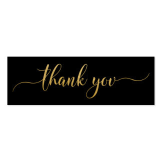 Thank You Faux Gold Elegant Typography Double-Sided Mini Business Cards (Pack Of 20)