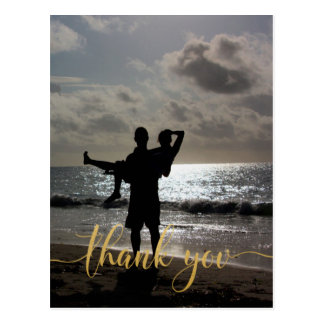 Thank You Faux Gold Typography Personalized Postcard
